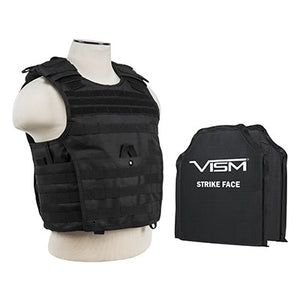 "LEVEL IIIA VISM by NcSTAR BSCVPCVX2963B-A EXPERT PLATE CARRIER VEST (MED-2XL) WITH 10""X12' LEVEL IIIA SHOOTERS CUT 2X SOFT BALLISTIC PANELS/ LARGE/ BLACK"
