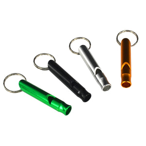 Emergency Hiking Camping Survival Aluminum Whistle Key Ring Chain 4 Pack Mixed Color