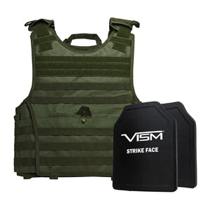 "LEVEL III+ VISM by NcSTAR BPCVPCVXL2963G-A EXPERT PLATE CARRIER VEST (2XL+) WITH 10""X12' LEVEL III+ PE SHOOTERS CUT 2X HARD BALLISTIC PLATES/ EXTRA LARGE/GREEN"