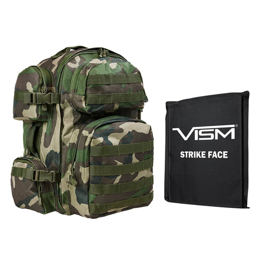 "LEVEL IIIA VISM by NcSTAR BSCBWC2911-A TACTICAL BACKPACK WITH 10""x12"" LEVEL IIIA SOFT BALLISTIC PANEL/ WOODLAND CAMO"