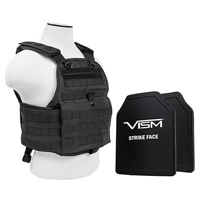 "VISM LEVEL III+ BPCVPCV2924B-A PLATE CARRIER VEST WITH 10""X12' LEVEL III+ PE SHOOTERS CUT 2X HARD BALLISTIC PLATES/ BLACK"