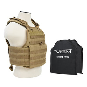 "LEVEL IIIA VISM BSCVPCV2924T-A PLATE CARRIER VEST WITH 10""X12' LEVEL IIIA SHOOTERS CUT 2X SOFT BALLISTIC PANELS/ TAN"
