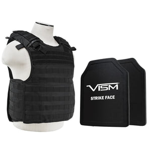 "LEVEL III+ VISM by NcSTAR BPLCVPCVQR2964B-A QUICK RELEASE PLATE CARRIER VEST WITH 11""X14' LEVEL III+ SHOOTERS CUT 2X HARD BALLISTIC PLATES/ BLACK"