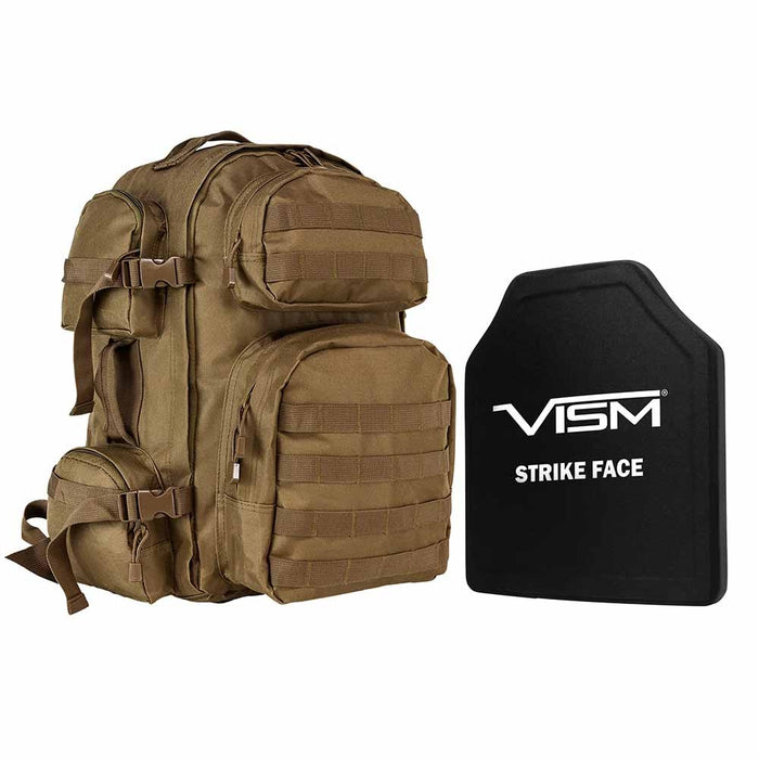 "VISM LEVEL III+  TACTICAL BACKPACK WITH 10""x12"" LEVEL III+ SHOOTERS CUT PE HARD BALLISTIC PLATE/ TAN"