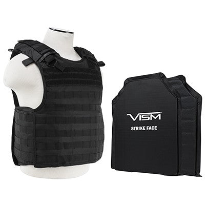 "LEVEL IIIA  VISM by NcSTAR BSLCVPCVQR2964B-A QUICK RELEASE PLATE CARRIER VEST WITH 11""X14' LEVEL IIIA SHOOTERS CUT 2X SOFT BALLISTIC PANELS/ BLACK"