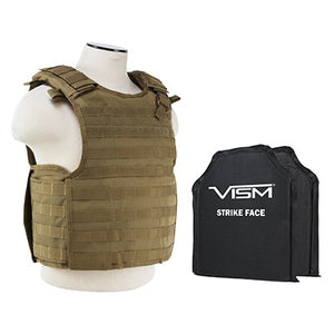 "LEVEL IIIA VISM BSCVPCVQR2964T-A QUICK RELEASE PLATE CARRIER VEST WITH 10""X12' LEVEL IIIA SHOOTERS CUT 2X SOFT PANELS TAN"