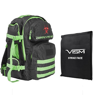"LEVEL IIIA VISM by NcSTAR BSCBZ2911-A TACTICAL BACKPACK WITH 10""x12"" LEVEL IIIA SOFT BALLISTIC PANEL/ BLACK WITH ZOMBIE GREEN TRIM"