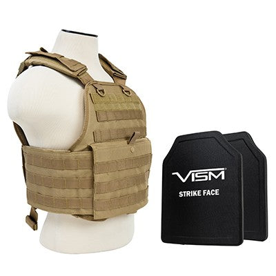 "VISM LEVEL III+ BPCVPCV2924T-A PLATE CARRIER VEST WITH 10""X12' LEVEL III+ PE SHOOTERS CUT 2X HARD BALLISTIC PLATES/ TAN"