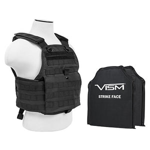 "LEVEL IIIA VISM BSCVPCV2924B-A PLATE CARRIER VEST WITH 10""X12' LEVEL IIIA SHOOTERS CUT 2X SOFT BALLISTIC PANELS/ BLACK"