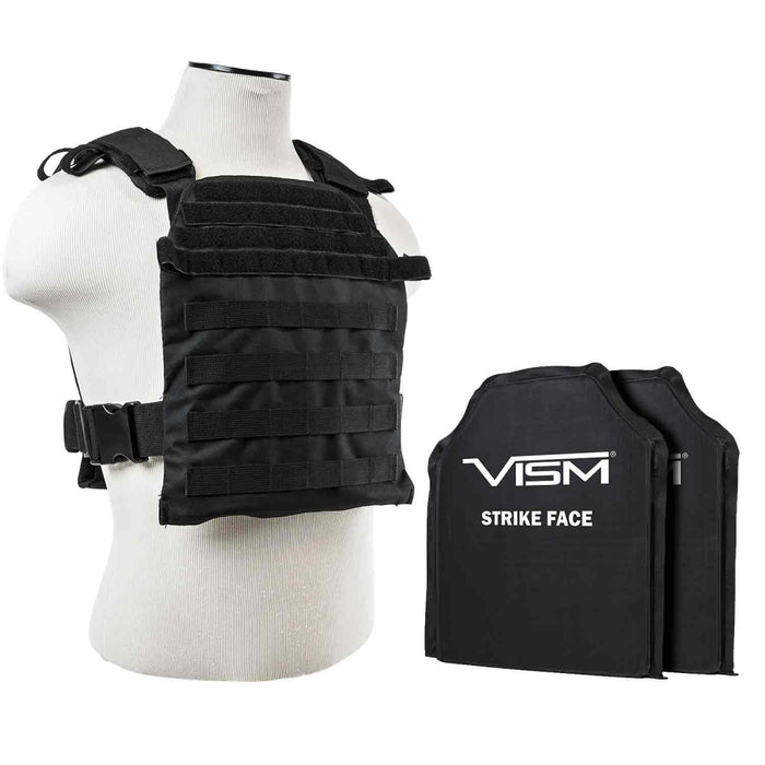 "LEVEL IIIA VISM FAST PLATE CARRIER  WITH 10""x12"" LEVEL IIIA SHOOTER'S CUT 2X SOFT BALLISTIC PANELS/ BLACK"