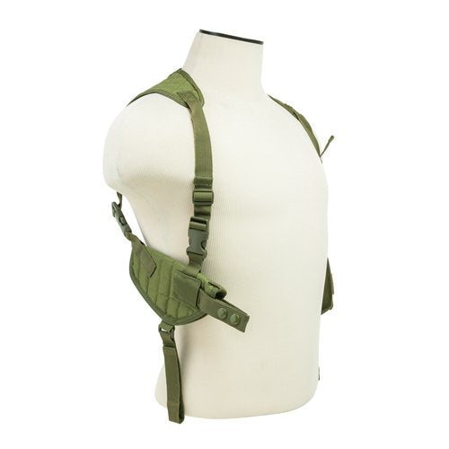 VISM by NcSTAR CV2909G AMBIDEXTROUS HORIZONTAL SHOULDER HOLSTER/DOUBLE MAGAZINE HOLDER/GREEN