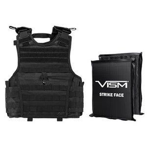 "LEVEL IIIA  VISM BSCVPCVXC2963B-A EXPERT PLATE CARRIER VEST (EXTRA SMALL-SMALL) WITH 8""X10' LEVEL IIIA RECTANGLE CUT 2X SOFT BALLISTIC PANELS/ SMALL/ BLACK"