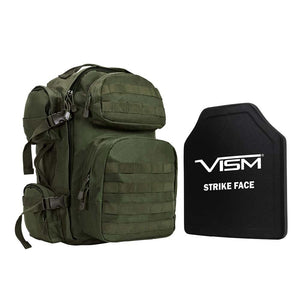"VISM LEVEL III+  TACTICAL BACKPACK WITH 10""x12"" LEVEL III+ SHOOTERS CUT PE HARD BALLISTIC PLATE/ GREEN"
