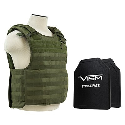 "VISM LEVEL III+ BPCVPCVQR2964G-A QUICK RELEASE PLATE CARRIER VEST WITH 10""X12' LEVEL III+ PE SHOOTERS CUT 2X HARD BALLISTIC PLATES/ GREEN"
