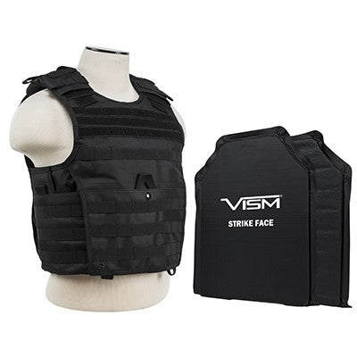 "LEVEL IIIA  VISM by NcSTAR BSLCVPCVX2963B-A EXPERT PLATE CARRIER VEST WITH 11""X14' LEVEL IIIA SHOOTERS CUT 2X SOFT BALLISTIC PANELS/ BLACK"