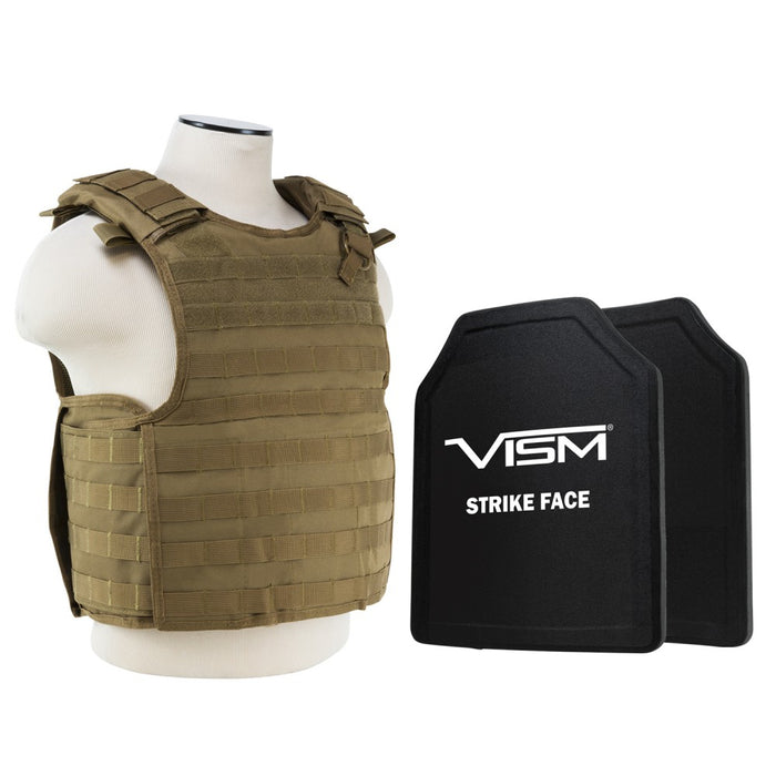 "LEVEL III+ VISM by NcSTAR BPLCVPCVQR2964T-A QUICK RELEASE PLATE CARRIER VEST WITH 11""X14' LEVEL III+ SHOOTERS CUT 2X HARD BALLISTIC PLATES/ TAN"