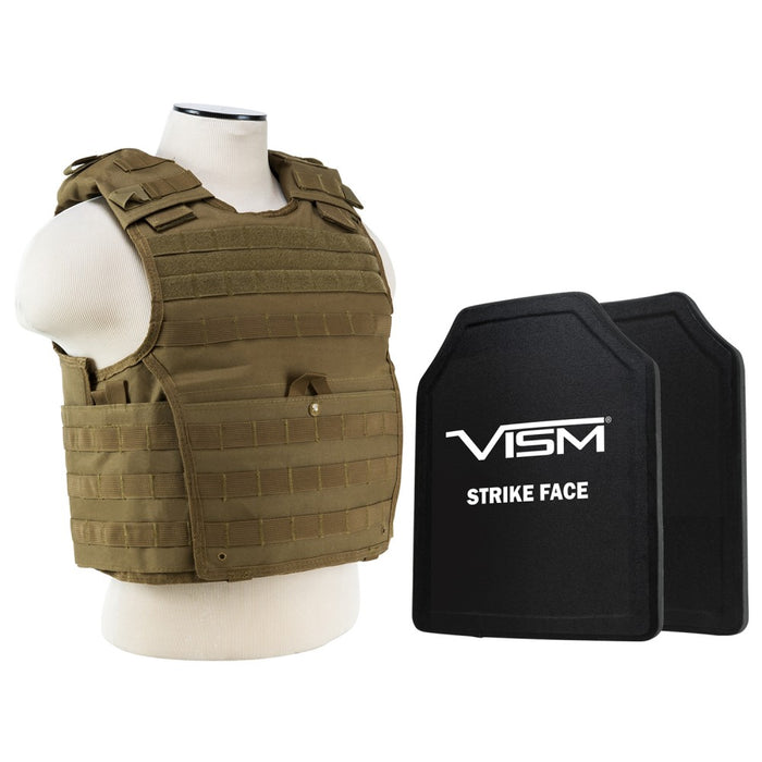 "LEVEL III+ VISM by NcSTAR BPLCVPCVX2963T-A EXPERT PLATE CARRIER VEST WITH 11""X14' LEVEL III+ SHOOTERS CUT 2X HARD BALLISTIC PLATES/ TAN"