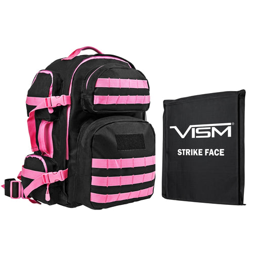 "VISM by NcSTAR BSCBPK2911-A Level IIIa TACTICAL BACKPACK WITH 10""x12"" LEVEL IIIA SOFT BALLISTIC PANEL/ BLACK WITH PINK TRIM"