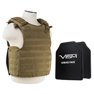 "LEVEL III+ VISM by NcSTAR BPCVPCVQR2964T-A QUICK RELEASE PLATE CARRIER VEST WITH 10""X12' LEVEL III+ PE SHOOTERS CUT 2X HARD BALLISTIC PLATES/ TAN"