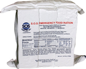 "SOS Food Labs, Inc. 185000825 S.O.S. Rations EMERGENCY 3600 Calorie Food bar - 3 Day/72 Hour Package with 5 Year Shelf Life, 5"" Height, 2"" Wide, 4.5"" Length"