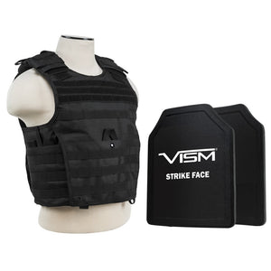 "LEVEL III+ VISM by NcSTAR BPLCVPCVX2963B-A EXPERT PLATE CARRIER VEST WITH 11""X14' LEVEL III+ SHOOTERS CUT 2X HARD BALLISTIC PLATES/ BLACK"
