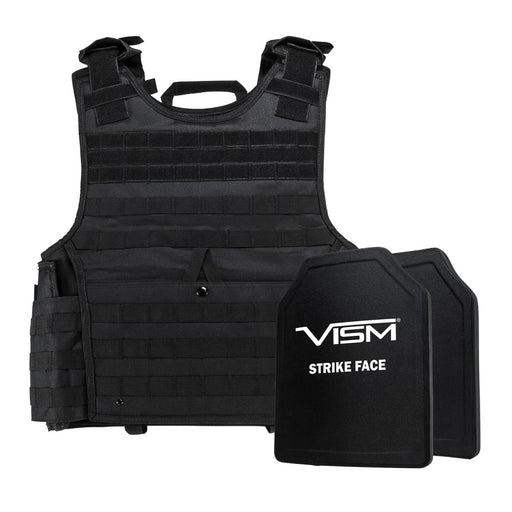 "LEVEL III+ VISM by NcSTAR BPCVPCVXL2963B-A EXPERT PLATE CARRIER VEST (2XL+) WITH 10""X12' LEVEL III+ PE SHOOTERS CUT 2X HARD BALLISTIC PLATES/ EXTRA LARGE/BLACK"
