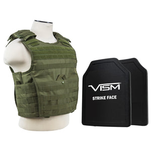 "LEVEL III+ VISM by NcSTAR BPLCVPCVX2963G-A EXPERT PLATE CARRIER VEST WITH 11""X14' LEVEL III+ SHOOTERS CUT 2X HARD BALLISTIC PLATES/ GREEN"
