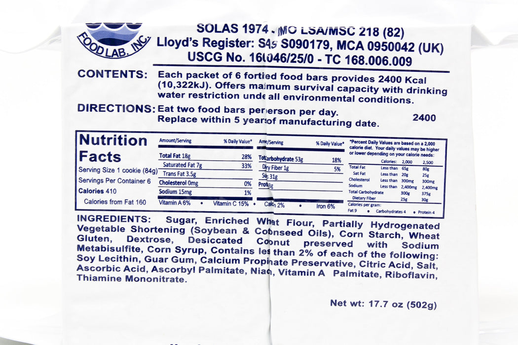 SOS Food Labs Food Rations 2400 Calorie Food Bars
