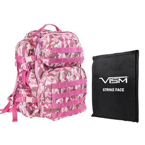 "LEVEL IIIA VISM by NcSTAR BSCBPC2911-A TACTICAL BACKPACK WITH 10""x12"" LEVEL IIIA SOFT BALLISTIC PANEL/ PINK CAMO"