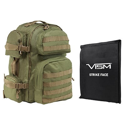 "LEVEL IIIA VISM by NcSTAR BSCBGT2911-A TACTICAL BACKPACK WITH 10""x12"" LEVEL IIIA SOFT BALLISTIC PANEL/ GREEN WITH TAN TRIM"