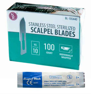 SE 100Pc Box- #10 Sterilized Scalpel Blades - 440Steel
