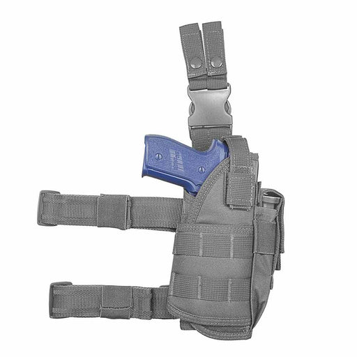 VISM by NcSTAR CVDLHOL2955D DROP LEG TACTICAL HOLSTER/ URBAN GREY