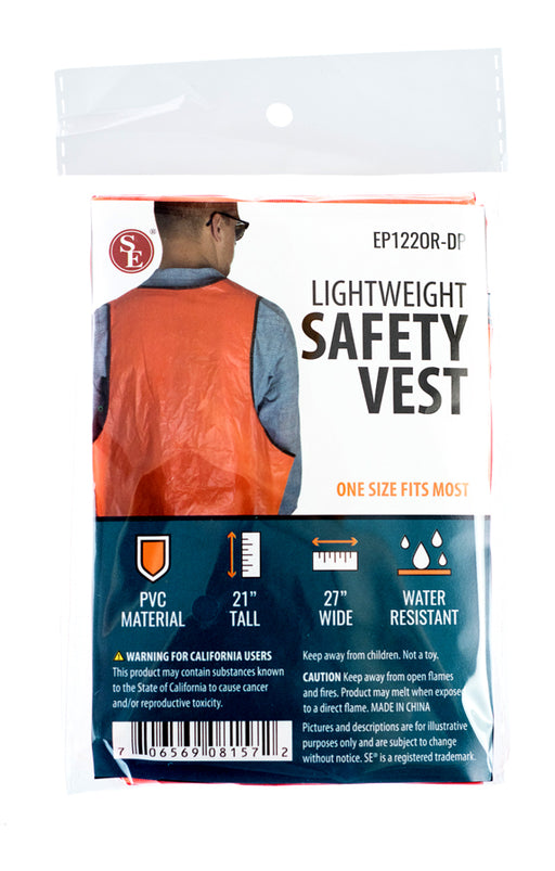 SE EP122OR-DP Disposable Safety Vest (Orange), PVC, Water Resistant, One Size Fits Most