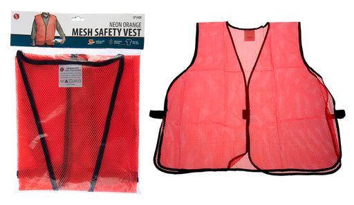 "SE EP14OR Orange Mesh Safety Vest with 1"" Wide Reflective Strip"