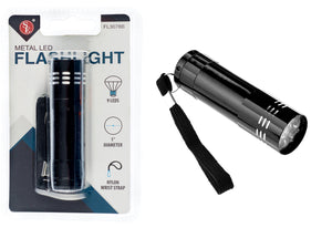 SE FL3078 9 LED Metal Flashlight with Lanyard 4 Colors