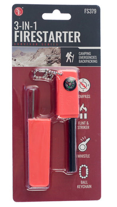 SE FS379 3-in-1 Firestarter with Ball Keychain (Compass, Flint & Striker & Whistle)
