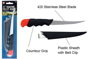 SE KF13 420 Stainless Steel Floating Fillet Knife, High Visibility Pommel