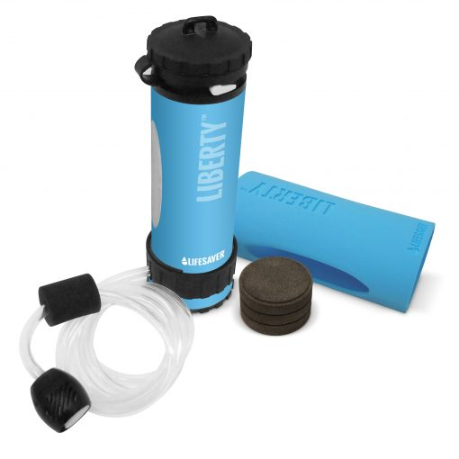 LIFESAVER Liberty Water Filtration Bottle Starter Pack 2000UF - Blue