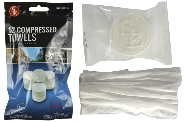"SE 12 Compressed Towels (12 Pack) Small 9-1/2"" x 10"" White NW9510"