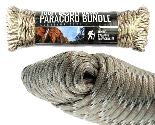 SE PC102CM55 100-ft. Paracord 550 Bundle with 7 Strands Desert Camouflage