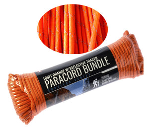 SE 100 Foot Hank 7 Strand Paracord 550 Orange Reflective
