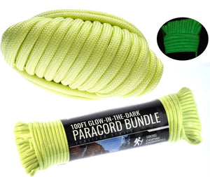 SE 100 Foot Hank 7 Strand Paracord 550 Glow In Dark Green