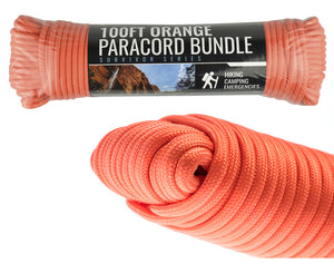 SE 100 Foot Hank 7 Strand Paracord 550 Orange