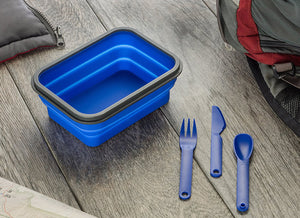 Collapsible Food Container with 1 Compartment, Includes Double Sided Fork/Spoon(Snaps)