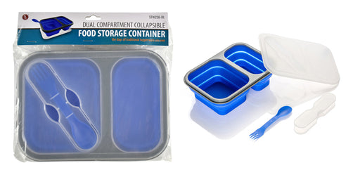 Collapsible Food Container with 2 Compartments, Includes Double Sided Fork/Spoon(Snaps)