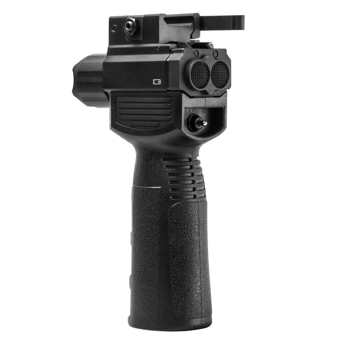 VISM by NcSTAR VAQVGFLRV2 GEN2 QR Vertical Grip with Built in LED Flashlight and Red Laser Strobe