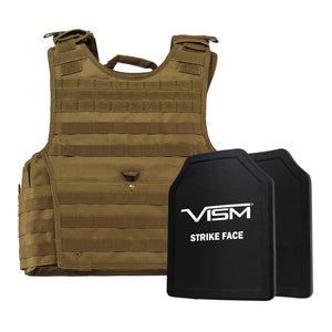 "LEVEL III+ VISM by NcSTAR BPLCVPCVXL2963T-A EXPERT PLATE CARRIER VEST (2XL+) WITH 11""X14"" LEVEL III+ SHOOTERS CUT 2X HARD BALLISTIC PLATES/ EXTRA LARGE/TAN"