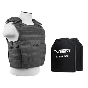 "LEVEL III+ VISM by NcSTAR EXPERT PLATE CARRIER VEST (MED-2XL) WITH 10""X12' LEVEL III+ PE SHOOTERS CUT 2X HARD BALLISTIC PLATES/ LARGE/ URBAN GRAY"