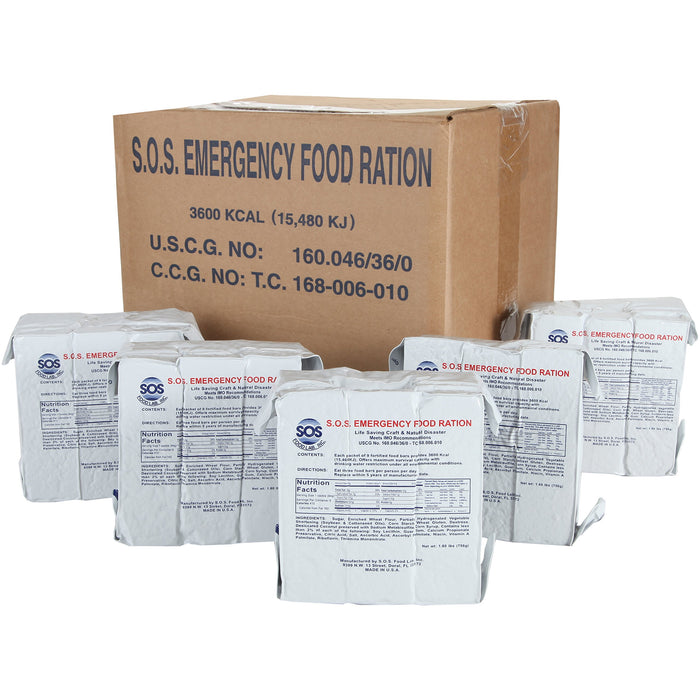 SOS Food Labs Rations Emergency 3600 Calorie Food Bar - 3 Day / 72 Hour Package with 5 Year Shelf Life- FULL CASE