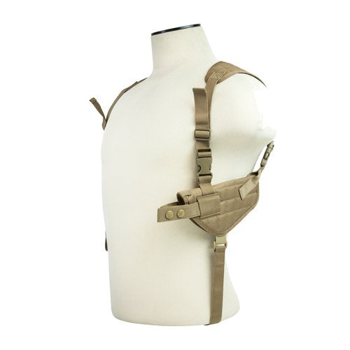 VISM by NcSTAR CV2909T AMBIDEXTROUS HORIZONTAL SHOULDER HOLSTER/DOUBLE MAGAZINE HOLDER/TAN